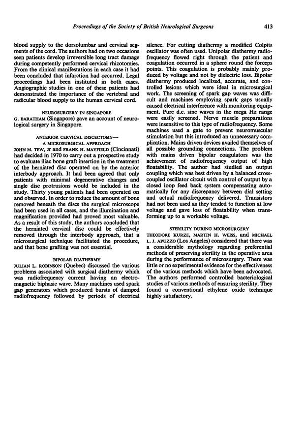 STERILITY DURING MICROSURGERY   Journal of Neurology