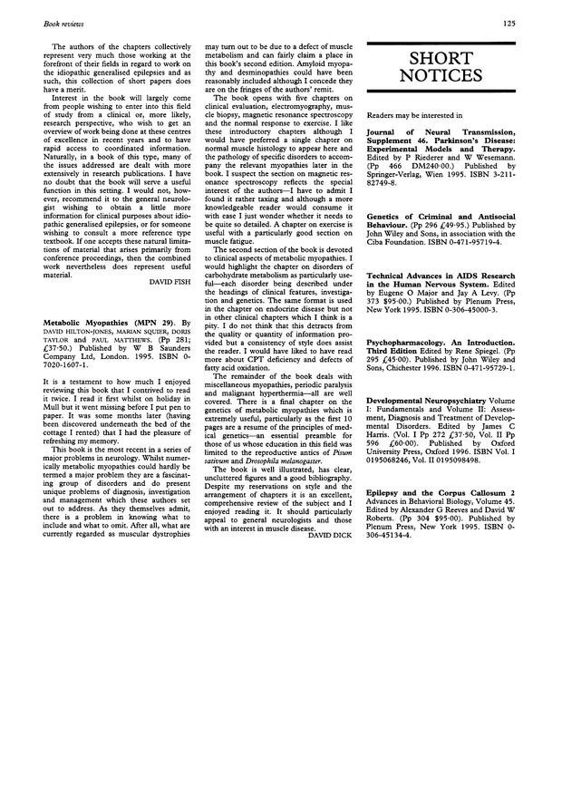 Metabolic Myopathies (MPN 29)   Journal of Neurology