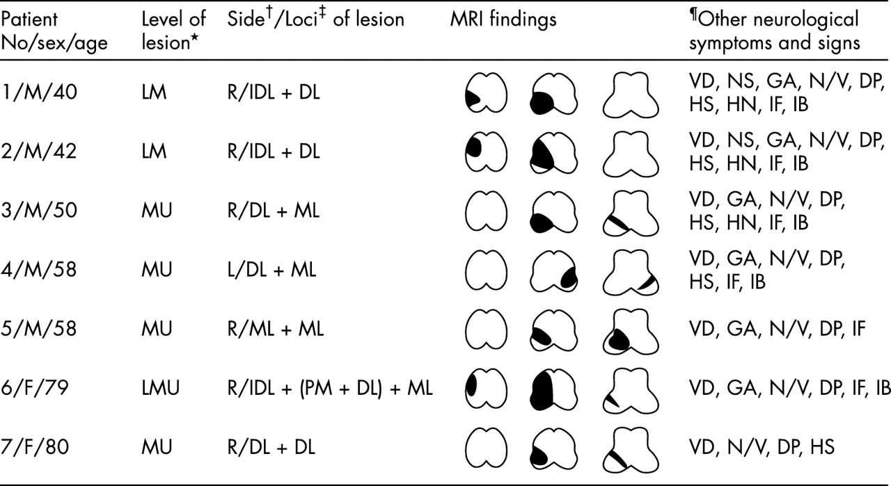 Lesional location of lateral medullary infarction presenting hiccups ...