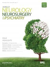 Journal of Neurology, Neurosurgery & Psychiatry: 89 (11)