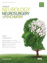 Journal of Neurology, Neurosurgery & Psychiatry: 90 (10)